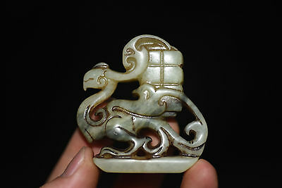 Chinese antique Jade hand-carved Statue Pendants Amulet C3