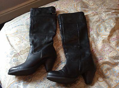 Black leather boots knee high by Office