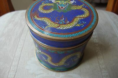 Chinese Cloisonne Box & Cover Dragon Decoration Circa 1900