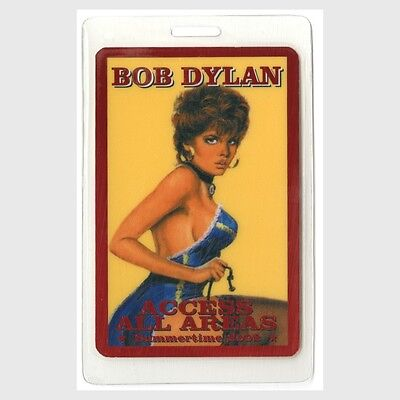 Bob Dylan authentic 2002 concert tour Laminated Backstage Pass pin up girl AA