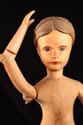 "Rare Exquisitely Hand Carved 12"" Brienz Swiss Linden Wood Wooden Vintage Doll"