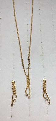 """SOLID 21k yellow GOLD disco ball mesh 16 """" necklace and earring set (13 grams)"""