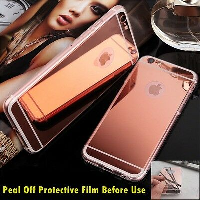 Luxury Ultra-thin TPU RoseGold Mirror Metal Case Cover for iPhone 7 Plus {BF610
