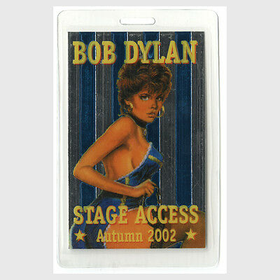 Bob Dylan authentic 2002 concert tour Laminated Backstage Pass pin up girl