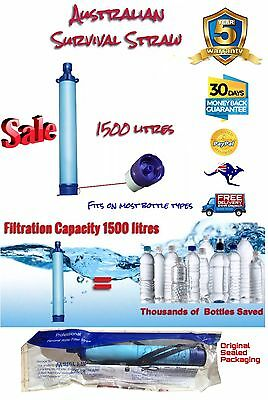 Survival Straw Water Filter Screw-On* Filters 1500L Vs To 1000L