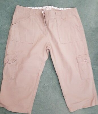 FAT FACE Ladies Cropped Cargo Trousers - Stone  Size 16