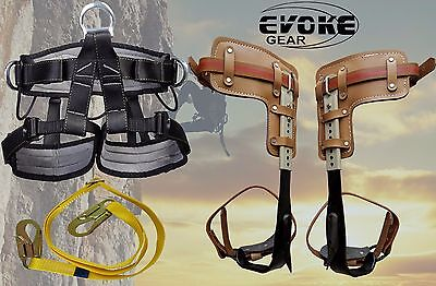 Tree Climbing Spike Set Pole Spurs Climber Adjustable With Pro Harness EvokeGear