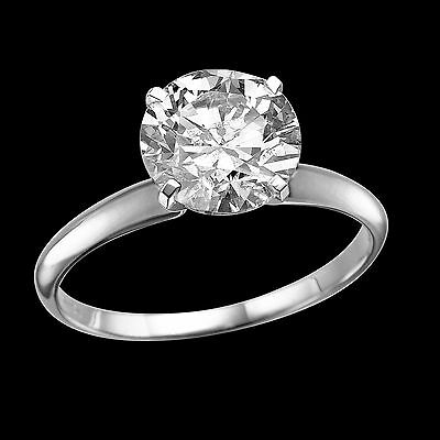 Solitaire 18K White Gold Enhanced Round Diamond Engagement Ring 2.55 CT F/SI1