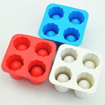 4-Cup Ice Cube Shot Silicion Shooters Glass Freeze Molds Tray Party Ice Moulds