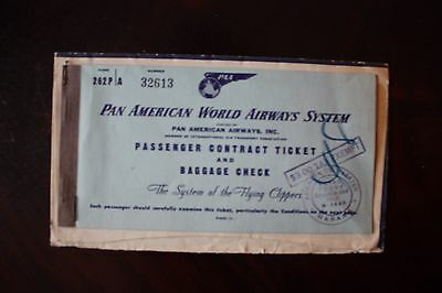 Ticket & Ticket Jacket Paa Pan American World Airways System From 1947