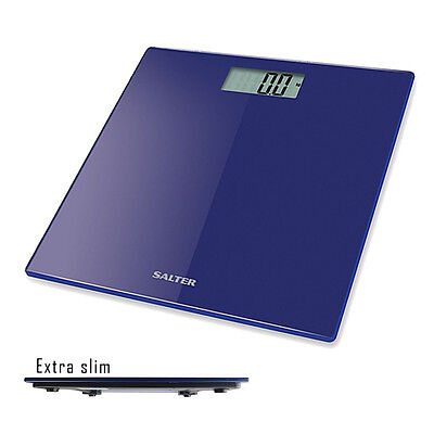 Salter Bathroom Scales Electronic Digital Body Weight Diet Glass Ultra Slim Blue