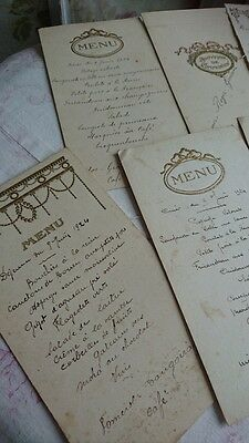 BATCH 7 BEAUTIFUL ANTIQUE FRENCH TIMEWORN GILDED MENU CARDS 1920s/30s