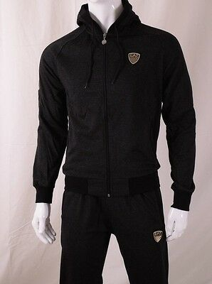 Mens Emporio Armani EA7 Black Tracksuit Zip Up Top Hooded  + Pants size XL  New