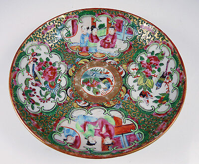 Antique Chinese Cantonese Porcelain Famille Rose Medallion Saucer