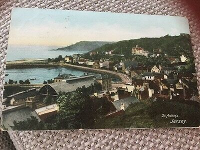 1906 St Aubins Station Jersey To France Colour Postcard