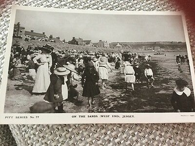Real Photo Vintage Bathers West End Beach Jersey Sands Crowded Scene