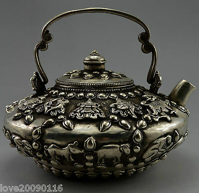 Collectible Decorated Old Handwork Tibet Silver China 12 Zodiac Flower Tea Pot
