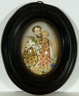 Miniature Oval 19th Century Antiques - Diorama Portrait of Father and Daughter
