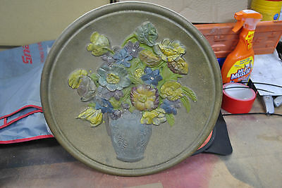 Vintage 1950's plaster/chalk floral wall plaque 14""