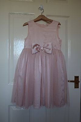 Blush Pink Bow Tulle Dress Wedding Flower Girl Bridesmaid Age 6-7 years