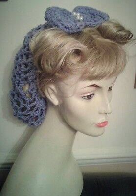 Vintage style 1940's handmade hair snood wartime ww2 hairnet lilac bow