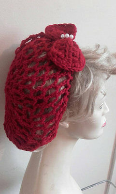 Vintage style 1940's handmade hair snood wartime ww2 hairnet red bow