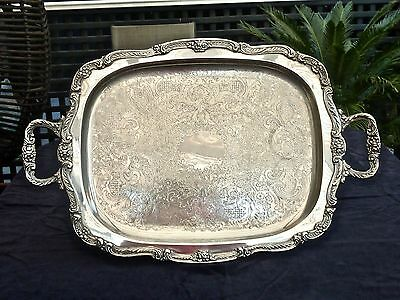 Exceptional & Exquisite Vintage Silver Plated Xlarge Serving Tray Footed