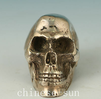 Chinese Copper Olating Silver Casting Skull Statue