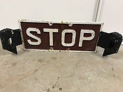 Vintage Original Nsw Railway Cast Iron Stop Sign Steel Railroadiana