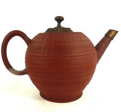 18Th Century Antique Engline Turned Redware Pottery Globular Teapot