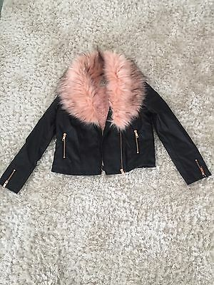 Girls Stunning Faux Leather Jacket With Pink Fur Age 13 Years