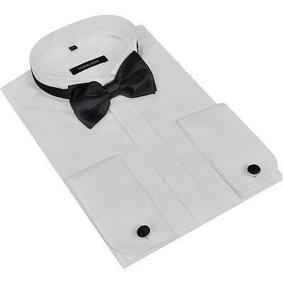 Men's Smoking Shirt with Cufflinks and Bow Tie Size S White
