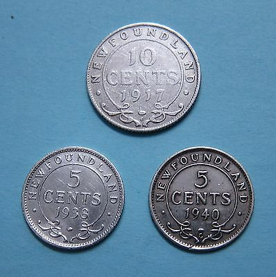 Newfoundland 5 and 10 cents silver - 1917 1938 1940