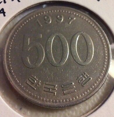 1997 South Korean 500 Won  Coin - South Korea   - Crane (#JU448)