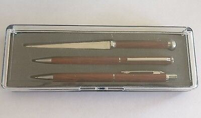Vintage boxed rollerball pen letter opener and pencil wooden set