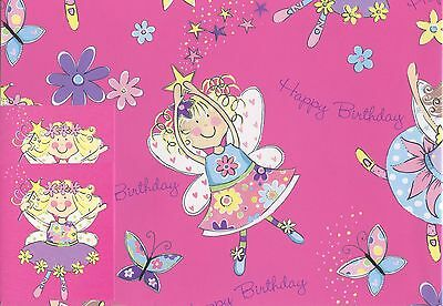 Fairies+Butterflies  2 Sheets Of Birthday Gift Wrap Wrapping Paper+2 Tags 1Stpp