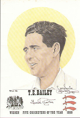 Trevor Bailey England & Essex Wisden Cricketer 1950 Art Denise Dean