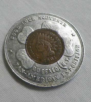 Pan-American Exposition Encased 1901 Full Liberty Indian Head Penny Lucky Piece