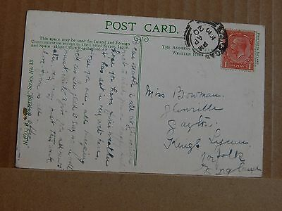 Postcard Ireland The Harp & The Shamrock Patriotic card posted 1920