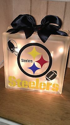 Lighted Glass Block Steelers
