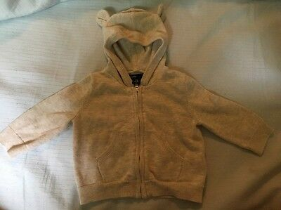 Baby GAP Teddy Bear Oatmeal Zippered Hooded Knit Sweater Size 3-6 Months