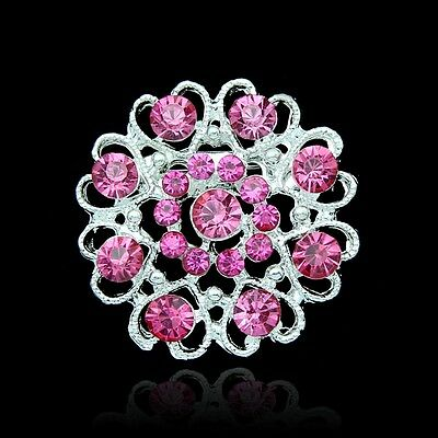 Hot  Wedding Rhinestone Crystal Brooches Pins For Bridal Bouquet Flower Pink 1Pc