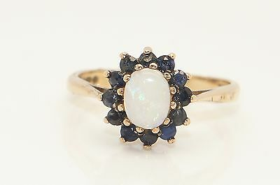 Vintage 9ct Gold Opal & Sapphire Flower Head Cluster Ring, Size O