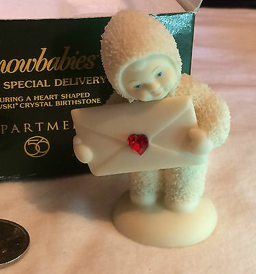 Snowbabies Extra Special Delivery with Heart Shape Swarovsky Crystal