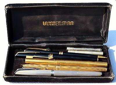 A Collection of 4 Watermans Fountain Pens with 18ct Gold Nibs 750 & a Ballpoint