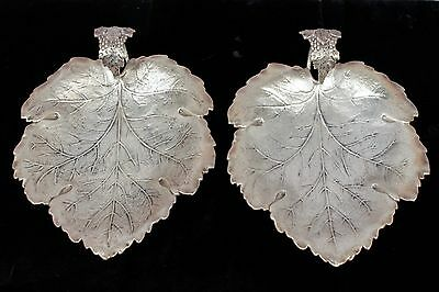 Superb c1900 Pair Graff, Washbourn & Dunn Sterling Silver Grape Leaf Dishes