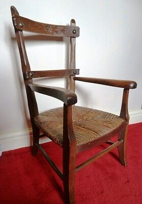 Antique Child's Chair Rush Seat Carved Wood Back Welsh Cottage style Doll Teddy
