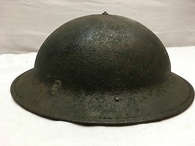 Antique WWI US Army Military Doughboy Helmet w/ Chin Strap & Partial Liner M1917
