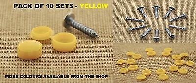 10Pcs CAR NUMBER PLATE FITTING FIXING KIT *SELF TAPPING SCREWS AND CAPS* YELLOW