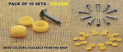 SELF TAPPING CAP YELLOW AND SCREW FIXING KIT FIT ALL CAR MODELS NUMBER PLATE x10